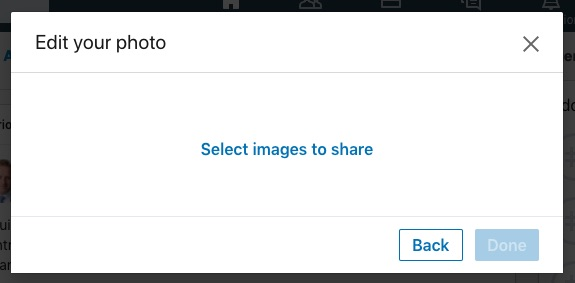 screenshot of a LinkedIn dialog screen Edit your photo