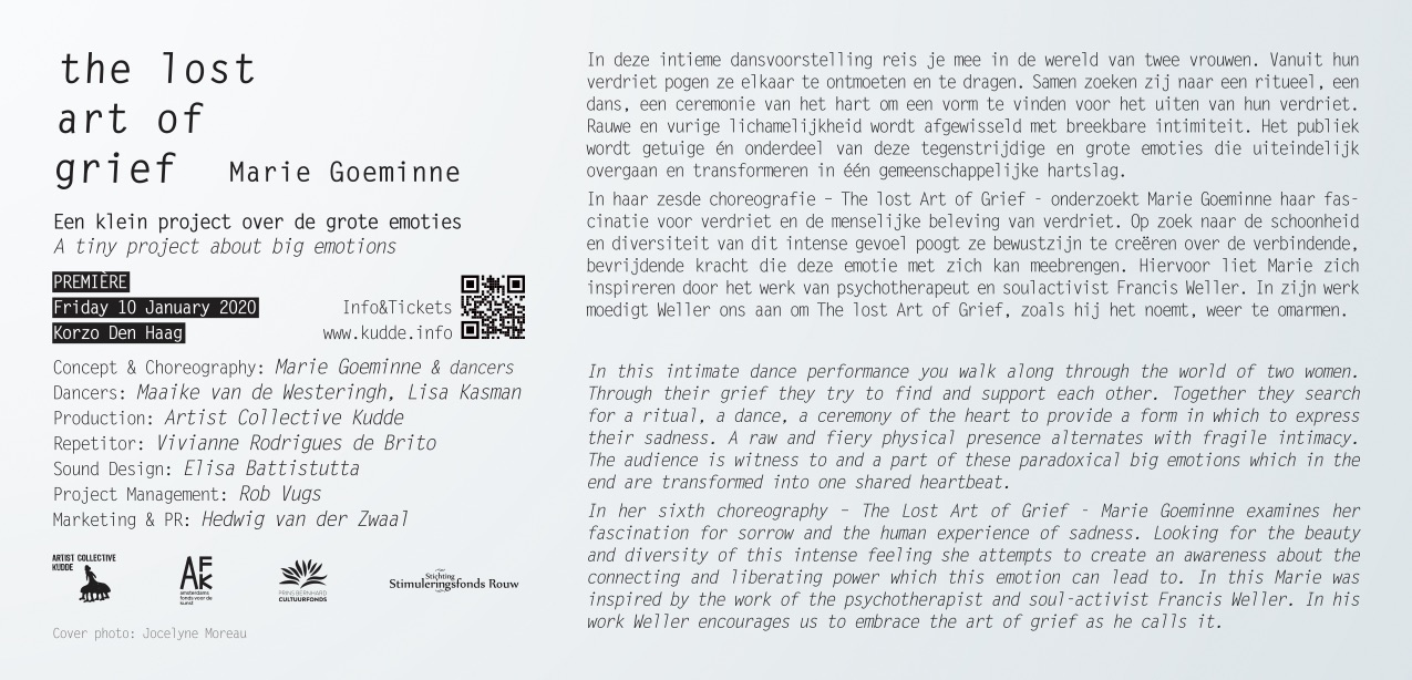 flyer layout for performance the lost art of grief