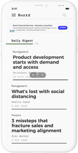 iphone mockup with buzzz editorial screen showing homepage