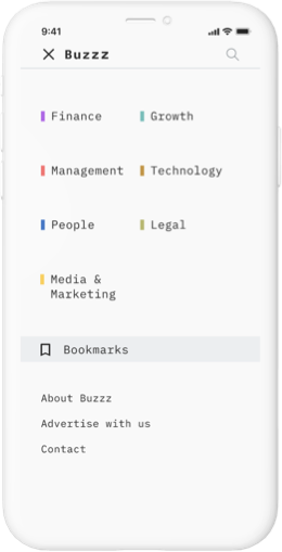 iphone mockup with buzzz editorial screen showing menu