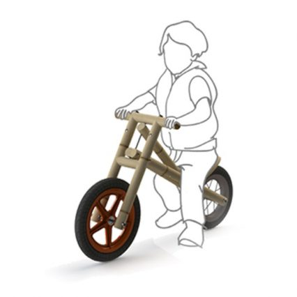 drawing and 3D render - kid on bike